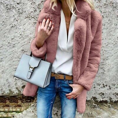 Winter Faux Fur Coat Women's Turn-down Collar Casual Solid Outwear Warm Jacket
