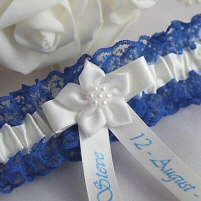 Royal blue lace with White or Ivory satin trim. Personalised Bridal Garter