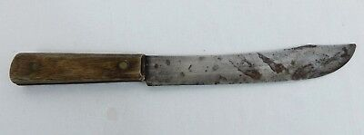 Vtg Old Antique Rustic Lg Butcher Knife Curved Fixed Blade Ontario Knife Co USA
