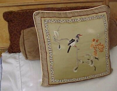 Asian Chinese Silk Textile Pillow Floral Bird with Cushion
