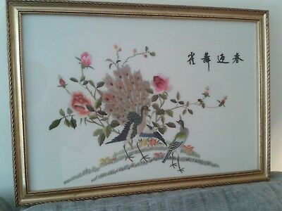 Beautiful Vintage Signed Chinese Silk Peacock Bird Picture In Quality Frame