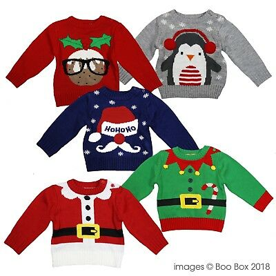 Baby Children Kids Xmas Christmas Knitted Novelty Jumper Elf Pudding Santa 3-24M