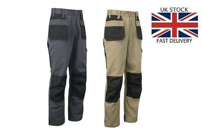 Work Trousers Mens Cargo Multi Pocket  Heavy Duty Pro Pants Triple Stitched