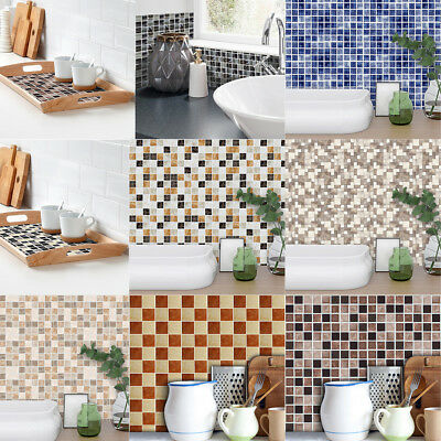 Lovoski Waterproof Wall Tile Stickers PVC Art Mosaic Bathroom Kitchen Decals