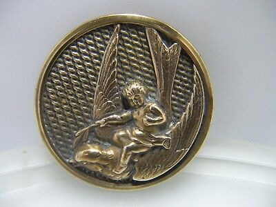 """Large Antique Metal Bird Picture Button…Thumbelina Riding Swallow 1 5/8"""""""