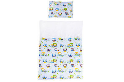 Duvet and Pillow Case Baby Bedding Set. Cot/cot Bed. Light Blue with Owls