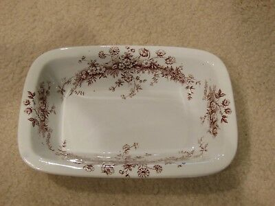 "Brown Transferware Vegetable Bowl - 10"" Rectangular - W & T Adams, 1888"