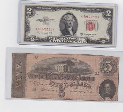 1864 Confederate States of American $5 Note & 1953B $2 Red Seal Note lot of 1 ea