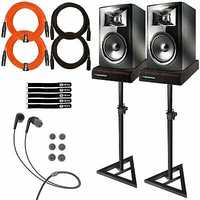 """JBL 306P MkII 6"""" Powered Studio Reference Monitor Speakers Pair + Stands Package"""