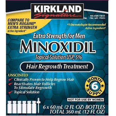 Kirkland 5% Minoxidil Hair Regrowth Extra Strength for Men 6 Month Supply 12f oz