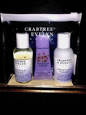 Crabtree & Evelyn Venetian Violet Shower Gel, Hand Therapy, Body Lotion Set Of 4