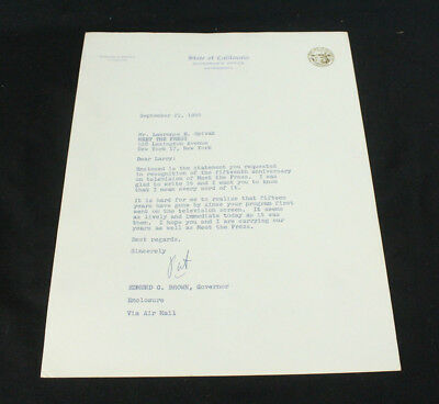 """Edmund G """"Pat"""" Brown TLS Signed State of California Governor's Office Letterhead"""
