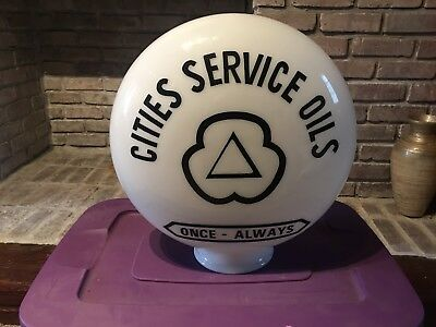 Cities Service Gasoline One Piece Etched Gas Pump Globe