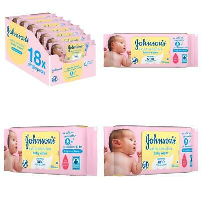 Johnson's Baby Extra Sensitive Fragrance Free Wipes - Pack of 18, Total 1008 Wip