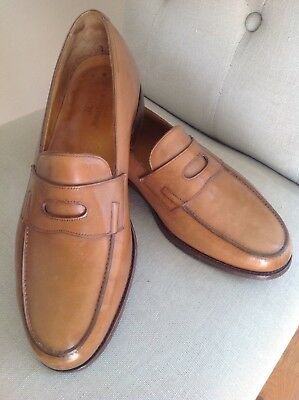 John Lobb Herren Schuhe LOPEZ scarpe men's shoes Slippers Leder brown braun 7,5