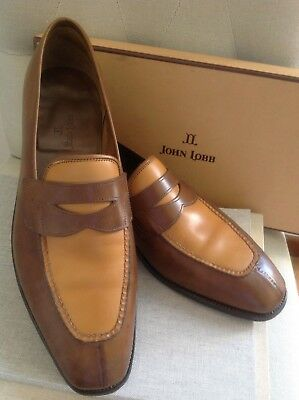 John Lobb Herren Schuhe Abney scarpe men's shoes Slippers Leder BI COL braun