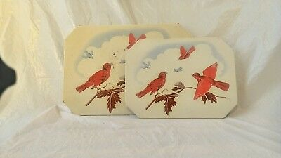 2 Vintage red and blue bird tin cardboard hotpad trivets farmhouse decor kitchen