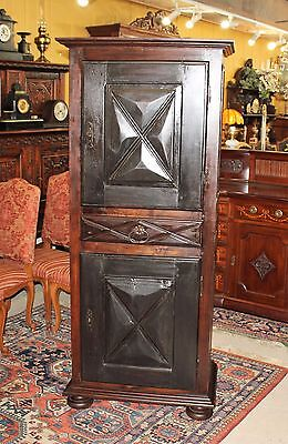 Antique Oak Tall Single Door Cabinet With 1 Drawer Louis XIII French Furniture