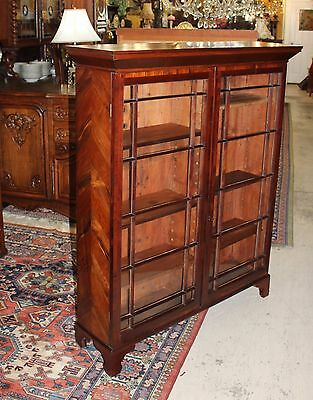 American Antique Rosewood Glass Door Bookcase with Adjustable Bookshelves