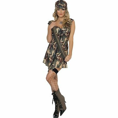 Military Sexy Camo Army Soldier Girl Womens Ladies Fancy Dress Costume