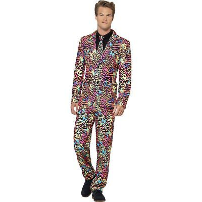 Neon Colours Print Stand Out Smart Suit Adults Mens Fancy Dress Costume
