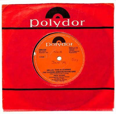 """Paul Evans - Hello, This Is Joannie  - 7"""" Record - Import"""