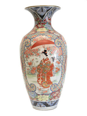 Arita? Japanese Porcelain Vase, hand painted enamel, gilt, 19th century