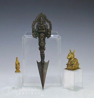 Lot Of Three Antique Chinese Tibetan Bronze Objects State Of Figure Dagger Etc