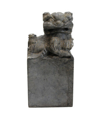 Chinese Carved Soapstone Foo Dog, Grey stone, ferocious lion on square plinth