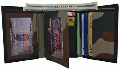 Swiss Marshall Men's RFID Blocking Premium Leather Classic Trifold Wallet (Camo