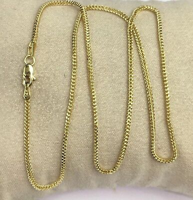 """14k Solid Yellow Gold Italian Franco Chain/Necklace. 18"""". 2 Grams"""
