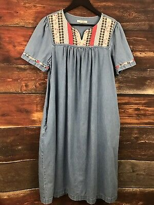 Go Softly Patio Womens Dress House Muumuu V Neck Maxi Size L
