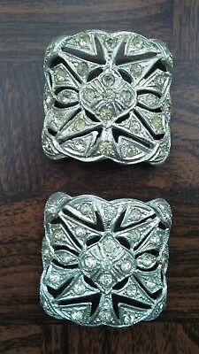 Antique or vintage rhinestone shoe buckle pair.