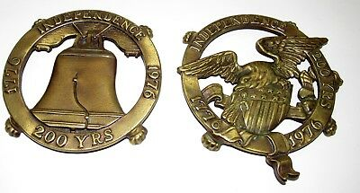 Vtg Brass Clawfoot Hotplate Trivets Eagle & Liberty Bell Independence 200 Yrs