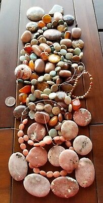 HUGE HEAVY LOT OF SUNSTONES and JASPER BEADS FOR JEWELRY MAKING HIGH QUALITY