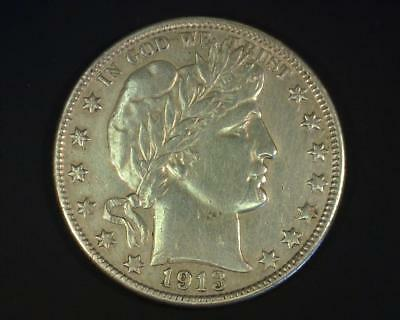 1913-D BARBER SILVER HALF-DOLLAR ABOUT UNCIRCULATED ~419118-ROEb