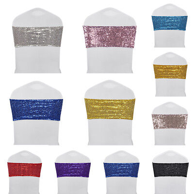 10/25/50/100pcs Spandex Sequin Chair Sashes Bow Band Cover Wedding Party Banquet