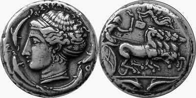 Arethusa & Chariot Patron Nymph of Syracuse, Greek Coin, Greek Mythology (5-S)