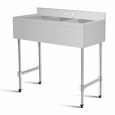 3 Compartment Stainless Steel Kitchen Commercial Sink Heavy Duty New