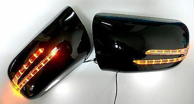 2 ARROW LED BLACK DOOR MIRROR COVERS FOR 2002-2005 MERCEDES BENZ W220 S-CLASS