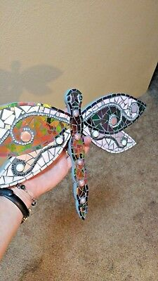 Mosaic dragonfly  plaque wall art insect decor stain glass summer bug diy   R-16