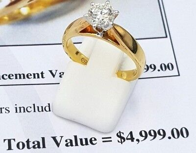 18K Yellow Gold Genuine 0.70Ct Diamonds Ladies Engagement Ring 750 Rrp$4,999.00