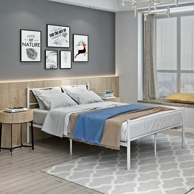 4Ft6 Double Metale Bed Frame Color White Or Black Bedstead Base With Headboard