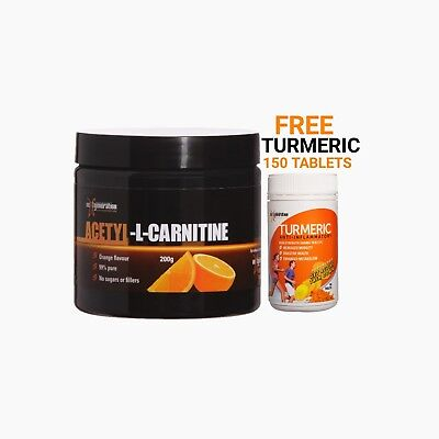 Pure Acetyl L Carnitine /Orange Flavour/ Plus Free Turmeric 150 Tablets