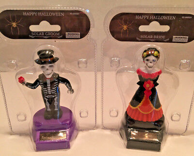 Happy Halloween Solar Bobblehead Dancing Day Of The Dead Skeleton Bride & Groom