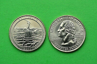 2011  P&D  BU  Mint State (Gettysburg) US National Park Quarters (2 Coins)