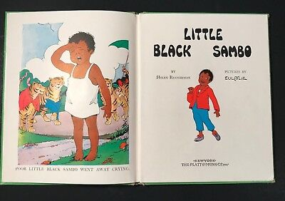LITTLE BLACK SAMBO (1955, Vintage HB Book) BY HELEN BANNERMAN,  GREEN COVER