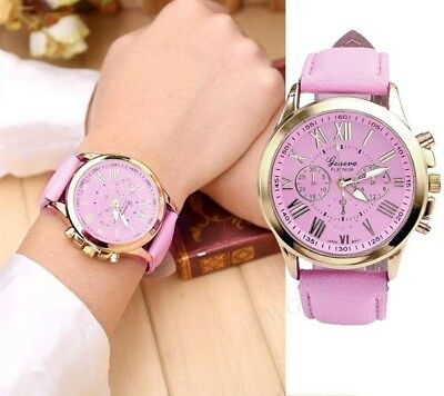 Geneva New Women's Lady Fashion Roman Numerals Faux Leather Analog Quartz Watch