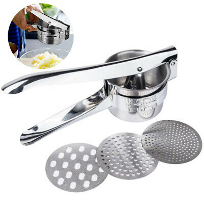 3 Discs Stainless Steel Potato Ricer Handheld Puree Press Masher Juicer