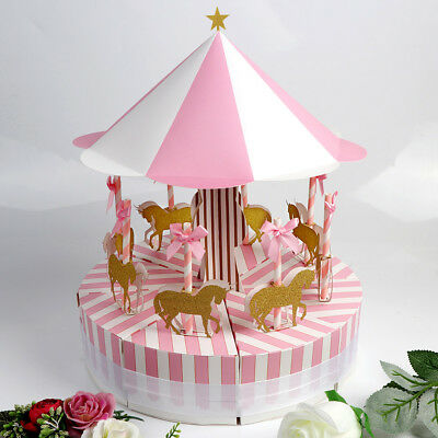 Carousel Candy Boxes Set Wedding Favor Ribbon Gift Box Baby Shower Party Decor